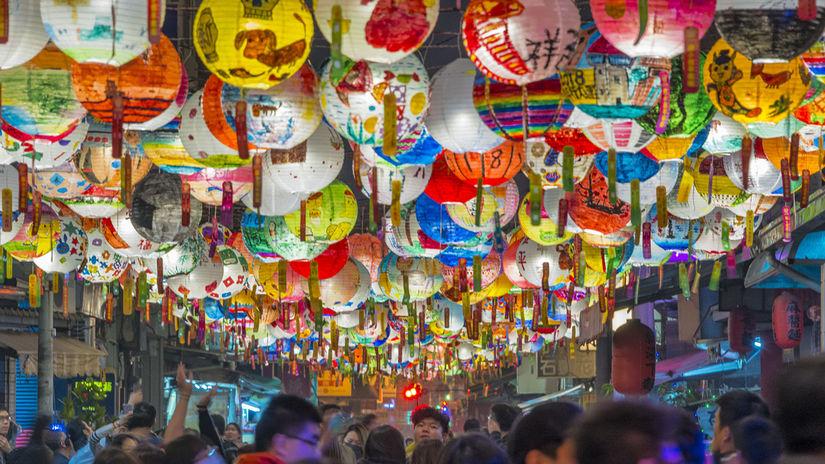 Tainan, Taiwan, lampióny, čínsky nový rok