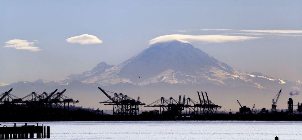 Washington, vrch, Mount Rainier, žeriavy, Seattle