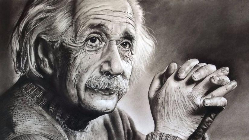 Albert Einstein, portrét, kresba, Milan Berky,...