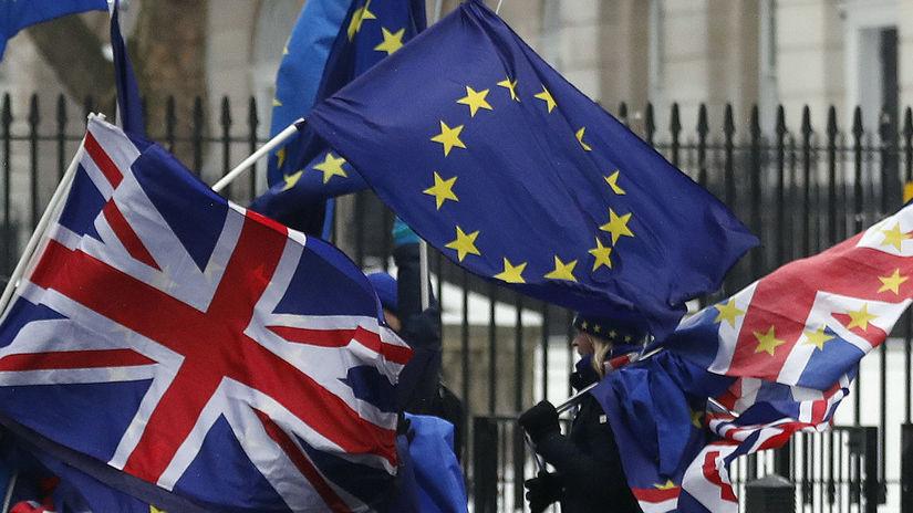 Británia, Brexit, vlajky, Londýn,