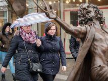 počasie, dáždnik, ženy, socha, Eurovea