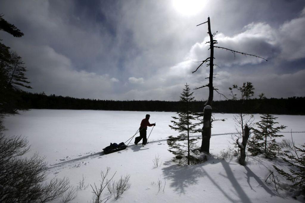 Maine, park Baxter, zima, sneh, mráz, sane