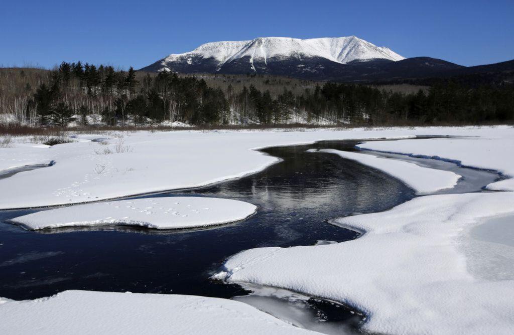 Maine, zima, sneh, mráz, Baxter park