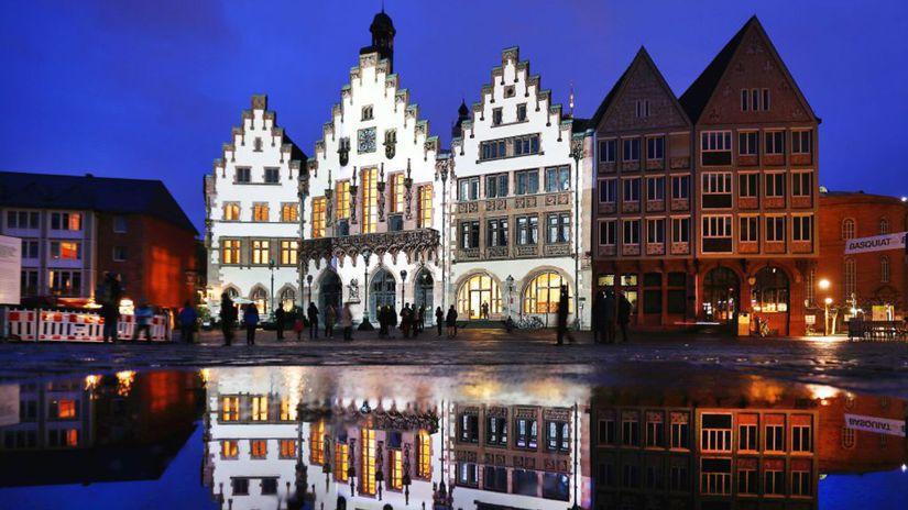 Nemecko, domy, Frankfurt, odraz, mláka