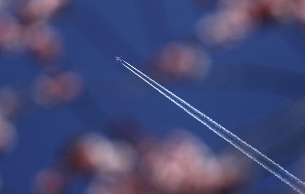 lietadlo, obloha, jar