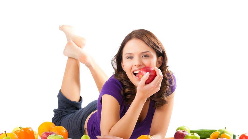 žena, zdravá strava, ovocie,