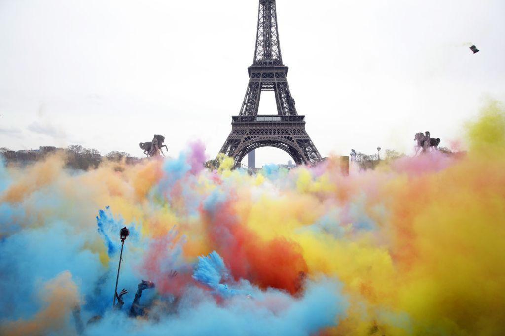 Paríž, Francúzsko, Eiffelova veža, Color Run