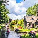 Giethoorn, Holandsko, kanály, lode, člny, voda,