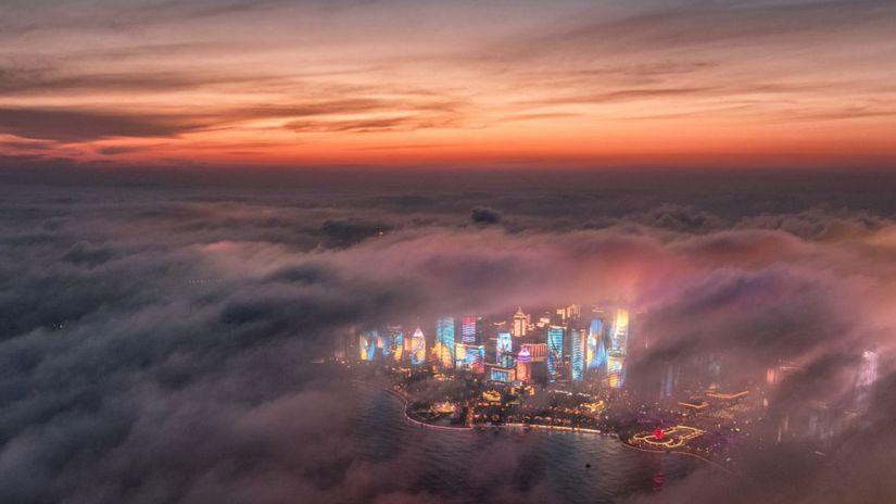 Čína, Čching-tao, mesto, oblaky, breh, more,...