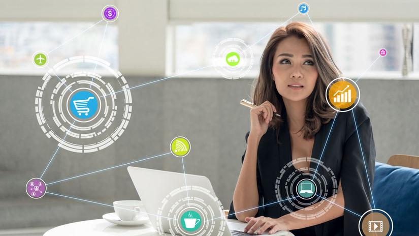 žena, sociálne siete, technológie