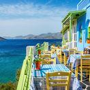 ostrov, dovolenka, stôl, stolovanie, cestovanie, reštaurácia, Grécko, prestrené,