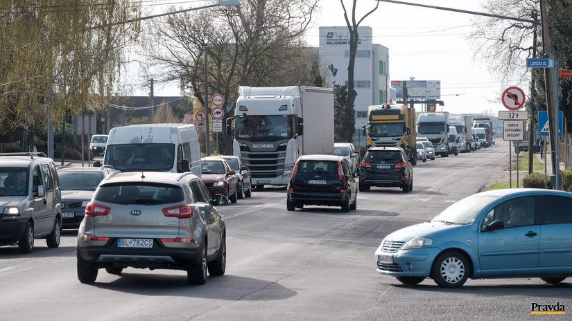 kolóna, autá, zápcha, ulica, emisie