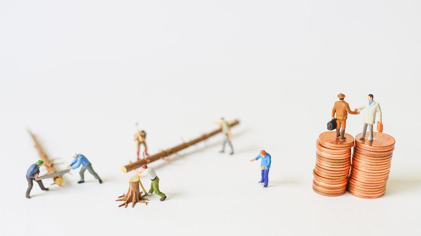 postavičky, drevo, peniaze, práca, plat