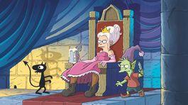 Princezná Bean, ktorá si rada vypije, divoký elf Elfo a osobný démon Luci sú hrdinami seriálu Disenchantment.