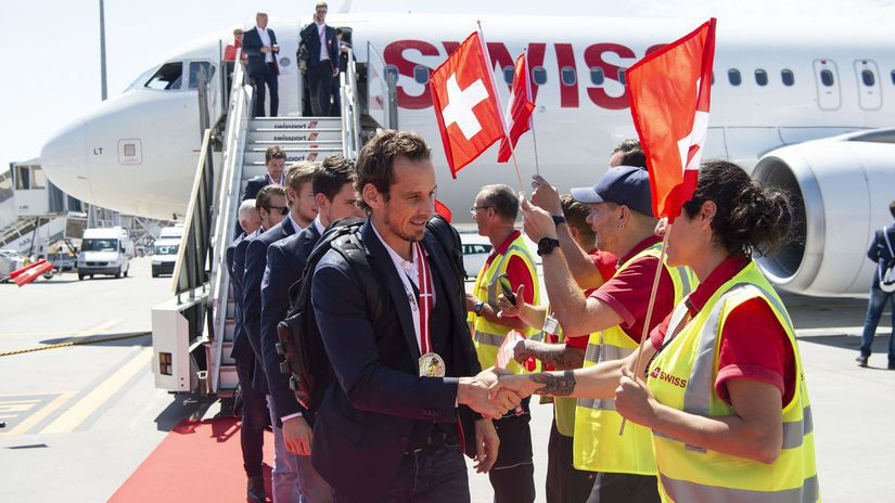 Švajčiarsko hokej striebro MS2018 prílet