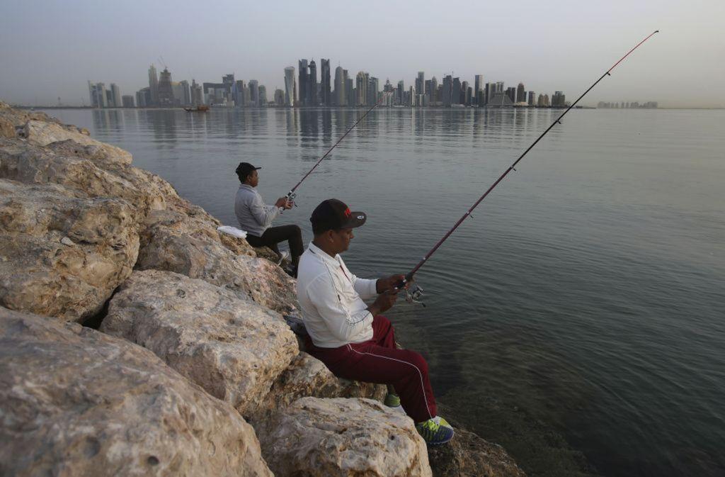 Katar, rybačka, lovenie, udice, Dauha, mrakodrapy, mesto