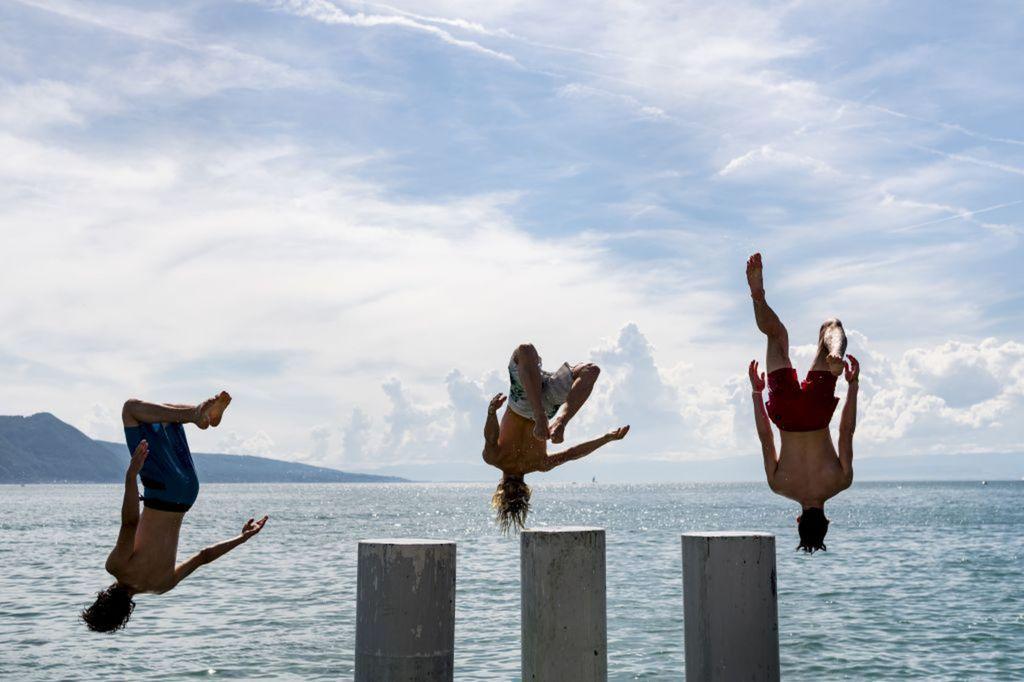 kúpanie, voda, leto, jazero, skákanie, skok