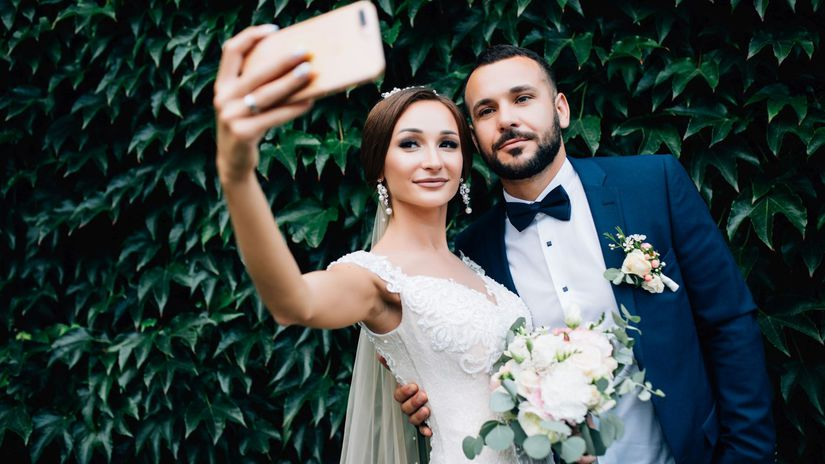 nevesta, ženích, svadba, selfie