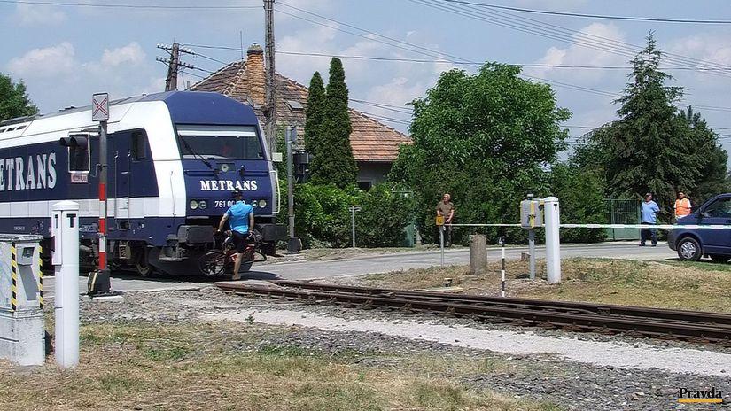 simulácia, zrážka, vlak, bicyklista, figurína