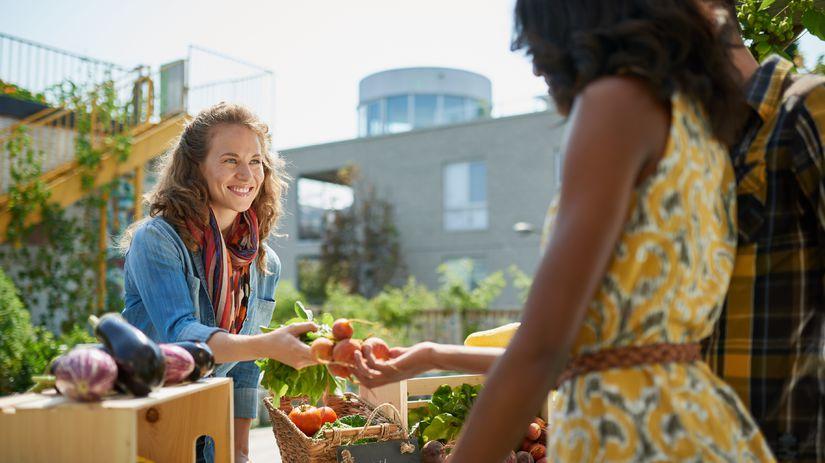 zelenina, ženy, nákup, trh,