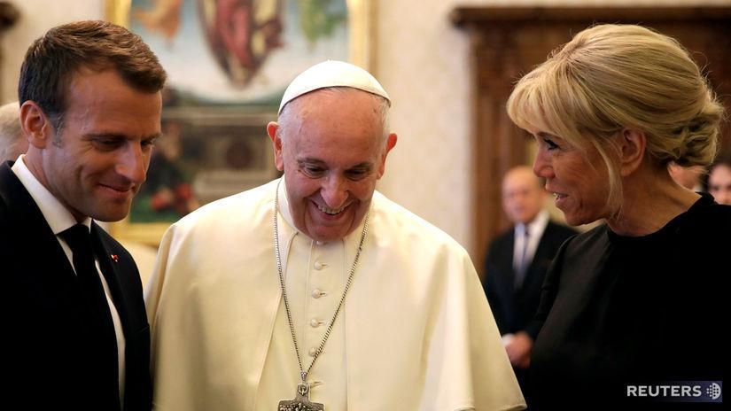 pápež, Macron, Brigitte Macron