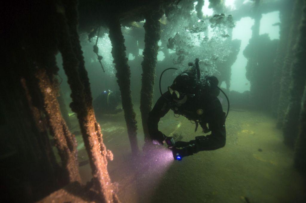 potápač, vrak, more, potápanie, Peru