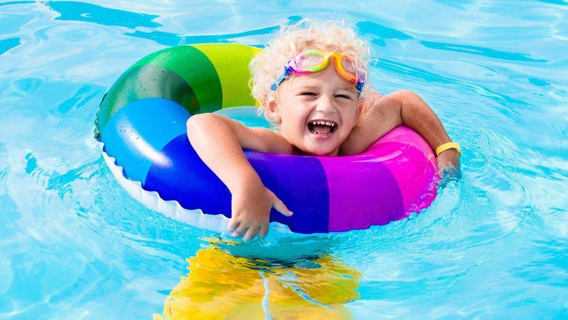 dieťa, dovolenka, more, kúpanie, plávanie, koleso