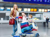 cestovanie, deti, žena, letisko, kufre