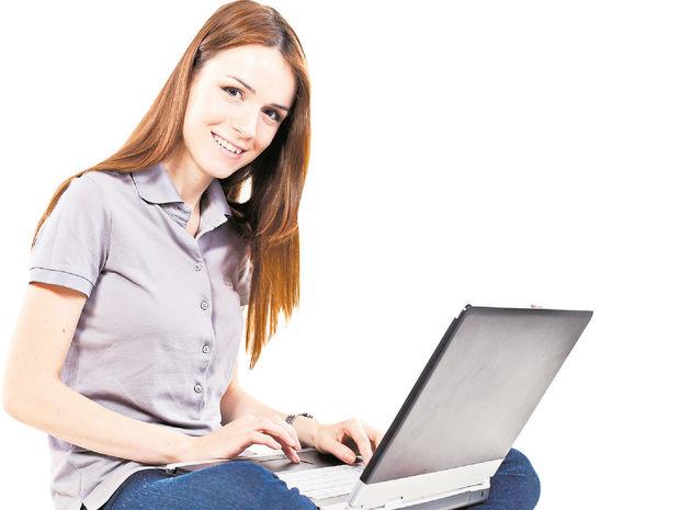študentka, brigáda, počítač, žena,