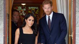Slávnostná recepcia v Glencairn, rezidencii britského veľvyslanca v Írsku. Princ Harry a jeho manželka Meghan v šatách od Emilie Wicksteadovej.