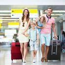 cestovanie, dovolenka, rodina, letisko, lietadlo, kufre, leto,
