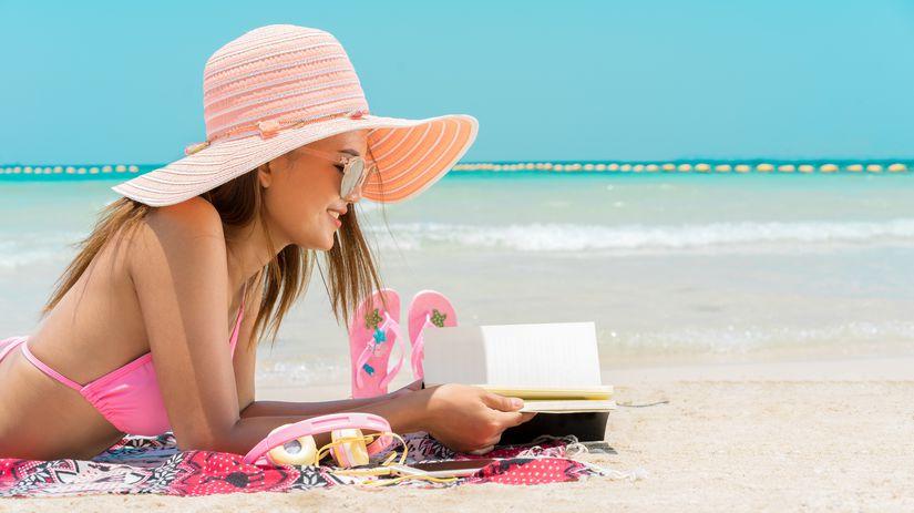 dovolenka, pláž, čítanie, žena,