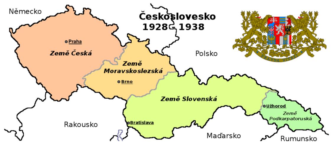 Карта Чехословакии в 1928-1938 гг.