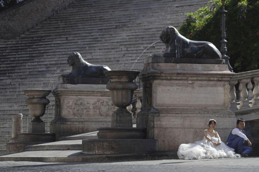 Taliansko, svadba, nevesta, ženích, fotenie, pózovanie