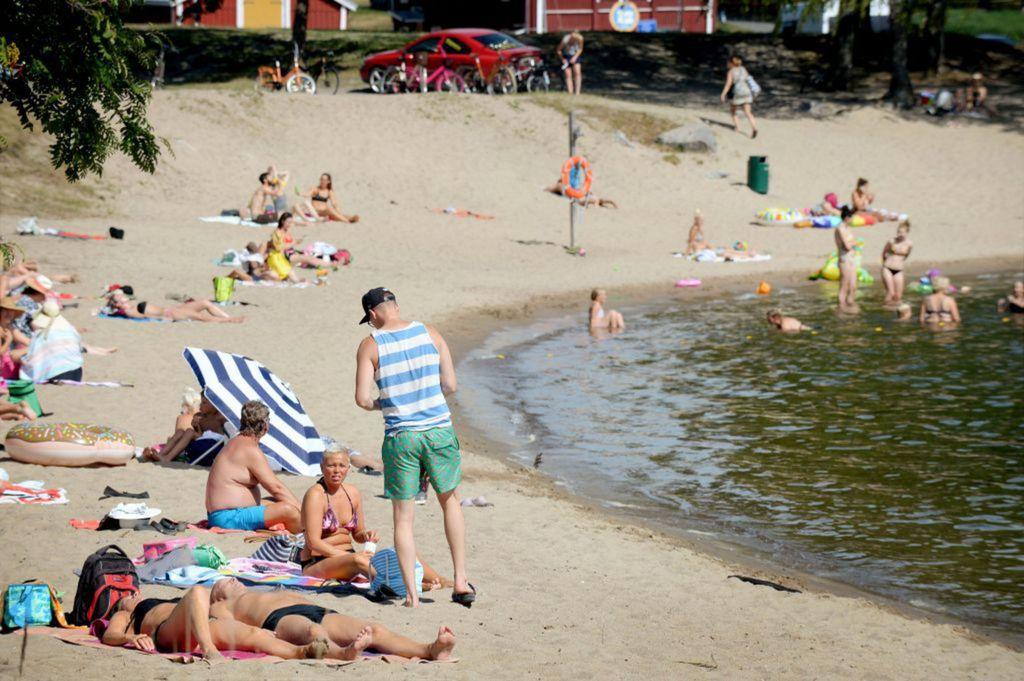 Fínsko, pláž, kúpanie, leto, dovolenka