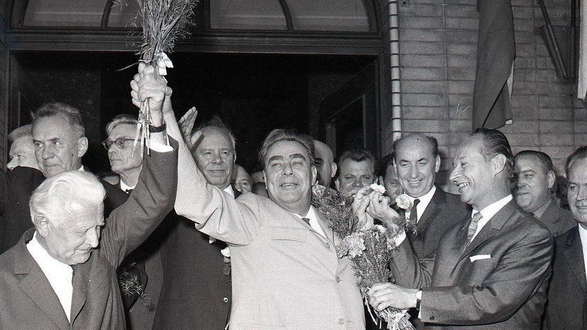 Ludvík Svoboda, Alexander Dubček, Leonid Brežnev
