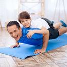 cvičenie, muž, chlapec,