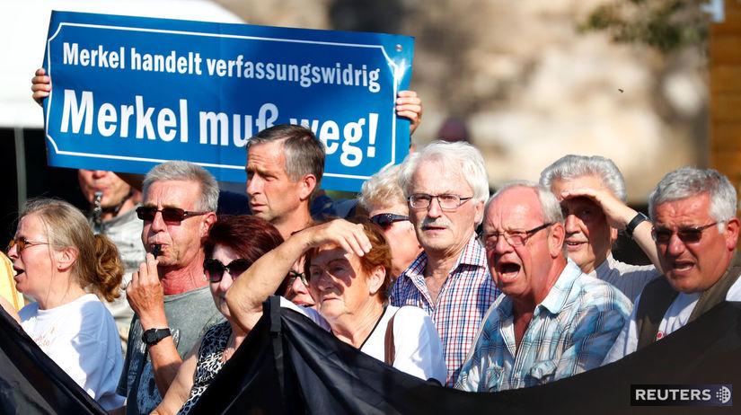 angela merkelová, nemecko, drážďany, protest