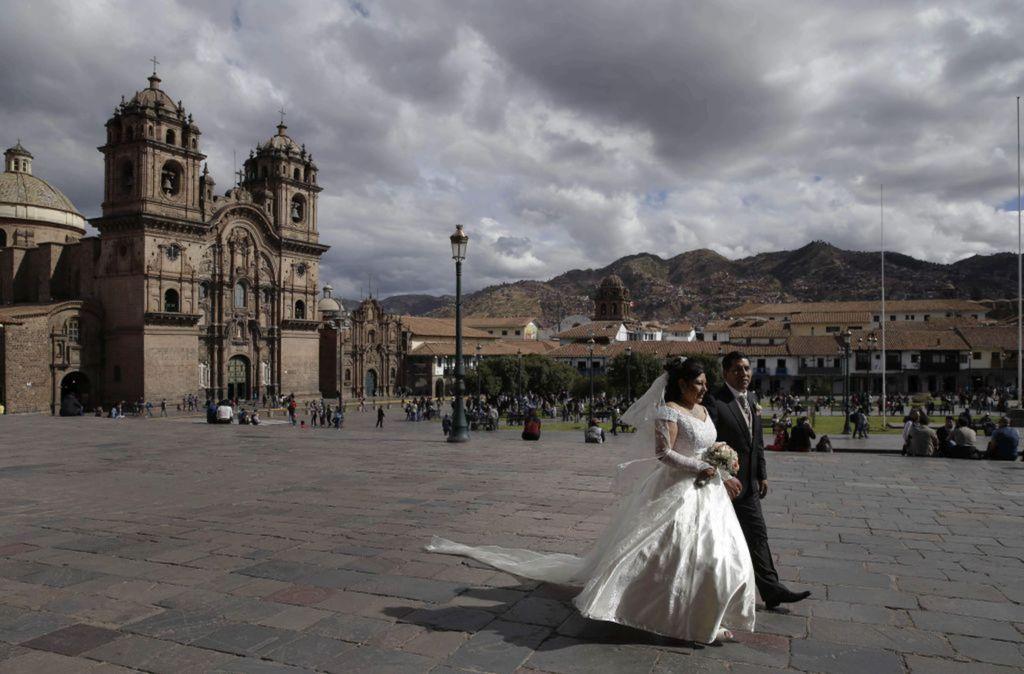 Peru, svadba, Cuzco, Plaza de Armas