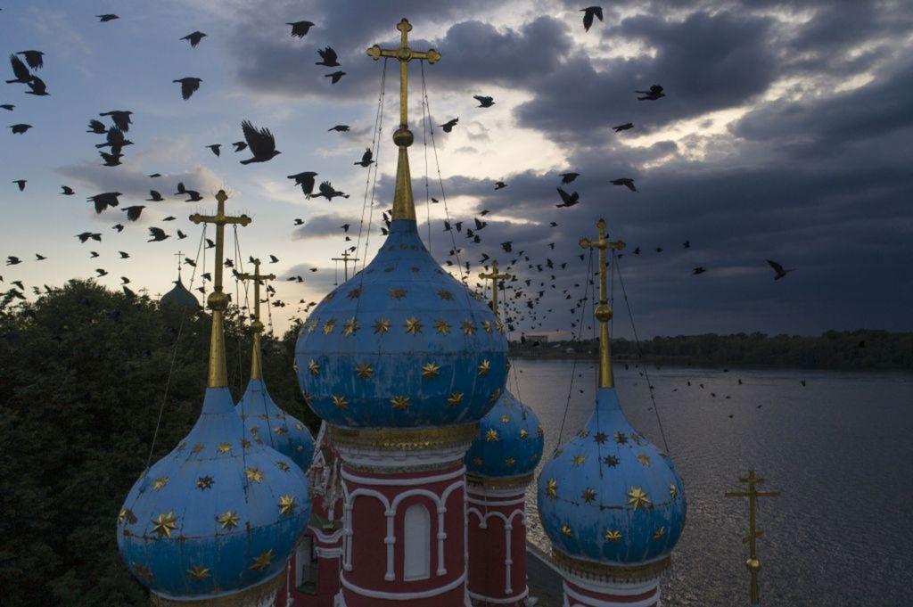 Rusko, kostol, chrám, vrany, vtáky, veže