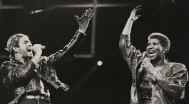 Záber z roku 1988: SPeváčka Aretha Franklin na zábere z koncertu s Georgeom Michaelom počas jeho turné  Faith World Tour.