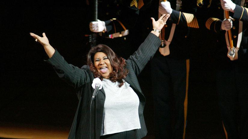 Záber z roku 2004: Speváčka Aretha Franklin...