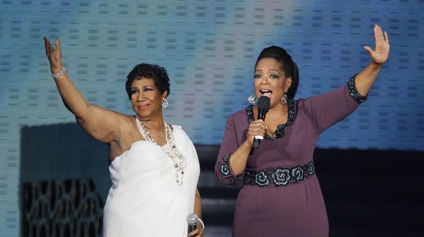 Záber z roku 2011: SPeváčka Aretha Franklin...