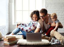 rodina, dieťa, počítač,