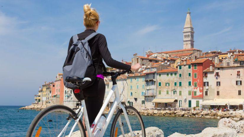 Rovinj, cyklistka, bicykel, Chorvátsko