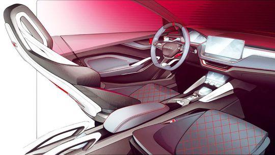 Škoda Vision RS: Parížsky koncept odhaľuje interiér. Je plný skla a karbónu