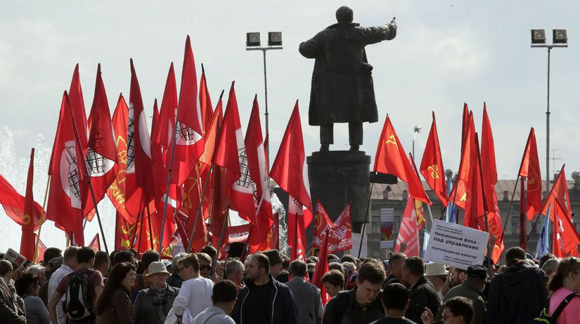 Rusko dôchodková reforma protest demonštrácia...