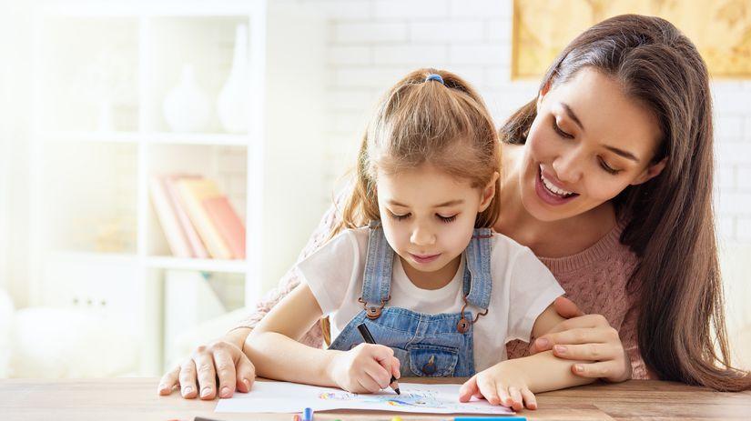 žiak, učenie sa, mama, dcéra, škola