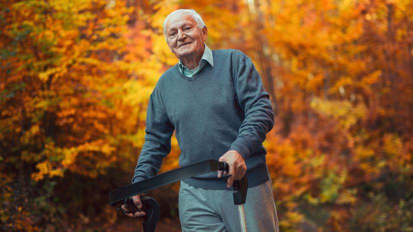 dôchodca, muž, senior, kosenie