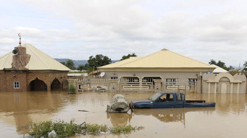 nigéria, záplavy, povodeň, afrika, voda, dom